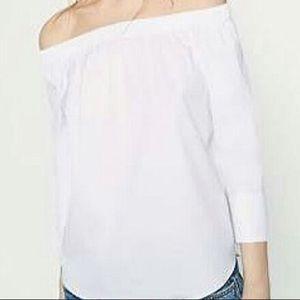 SZ XS Zara off shoulder white top NWT